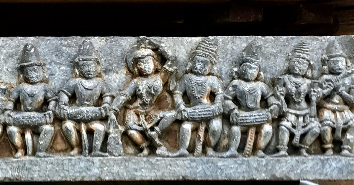 12th-century musicians with music instruments vadya at Shaivism Hindu temple Hoysaleswara arts Halebidu Karnataka India
