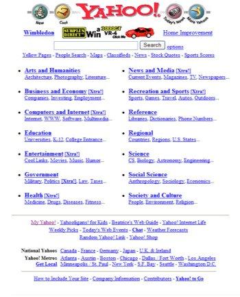 Yahoo Homepage 1997