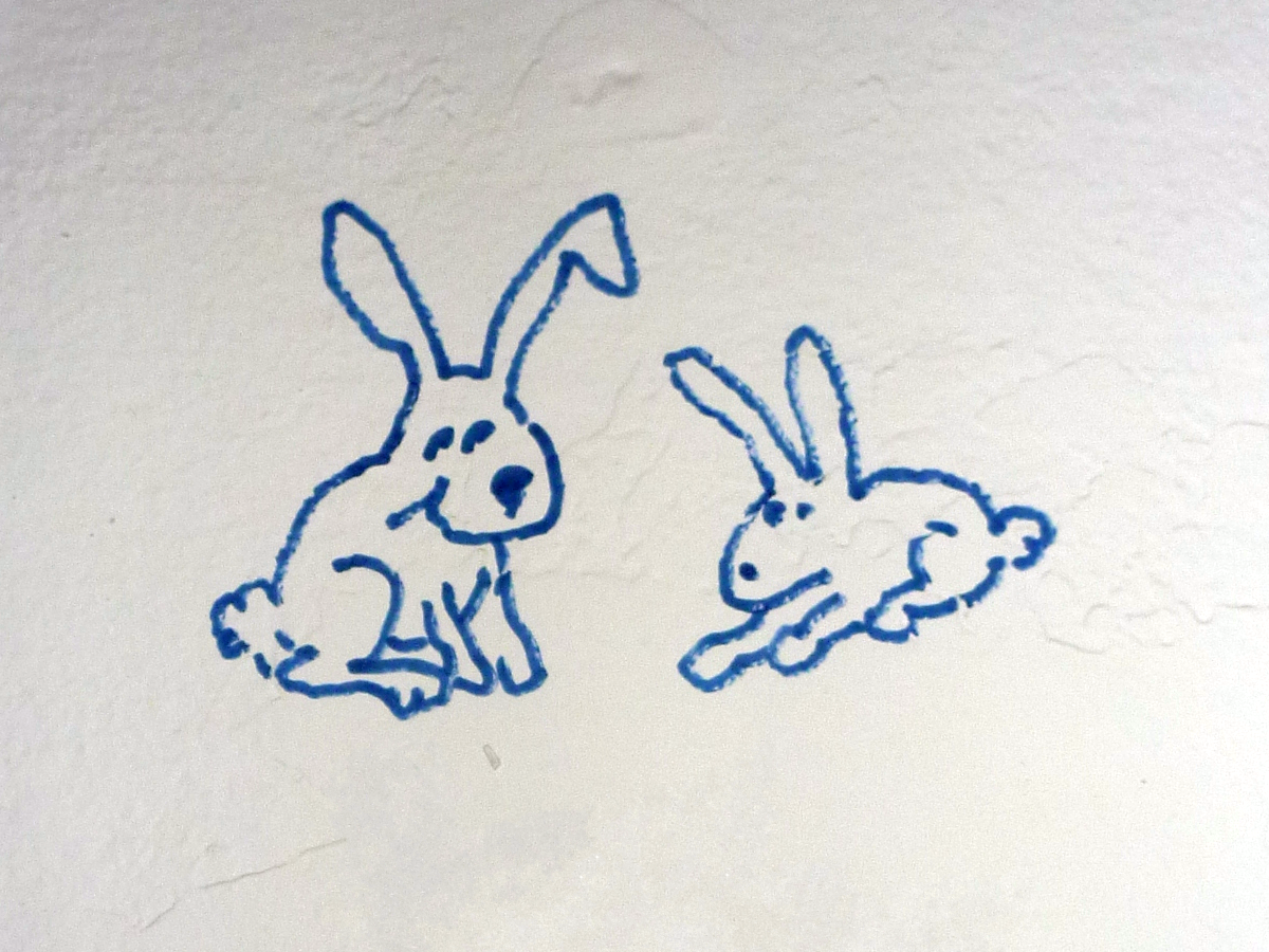 Bunnies on the wall, close up.