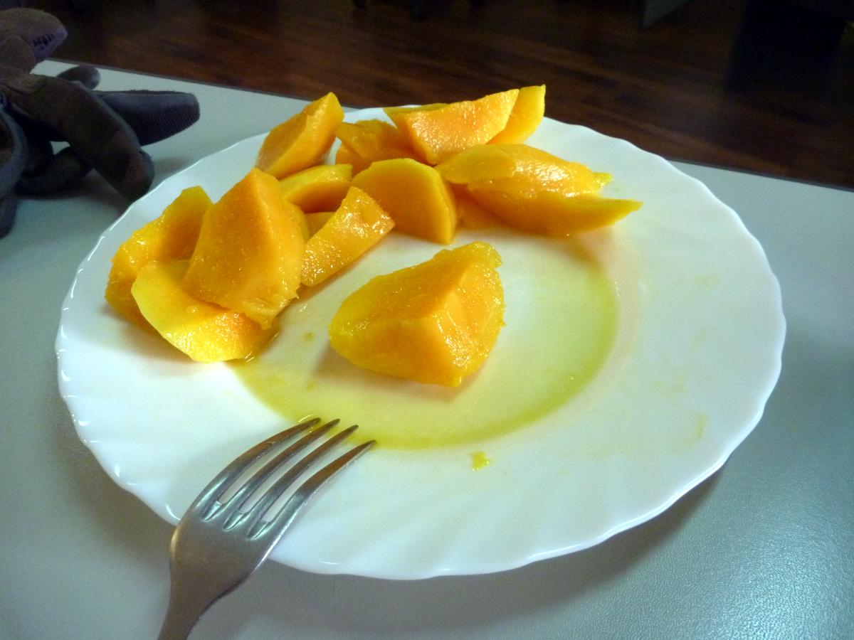 Chopped mangos at my desk